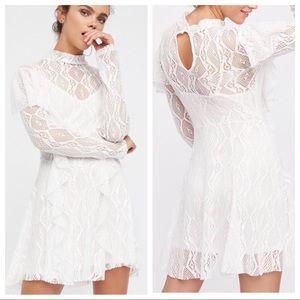 NWT Free People Wisteria Lace Dress Ivory sz M